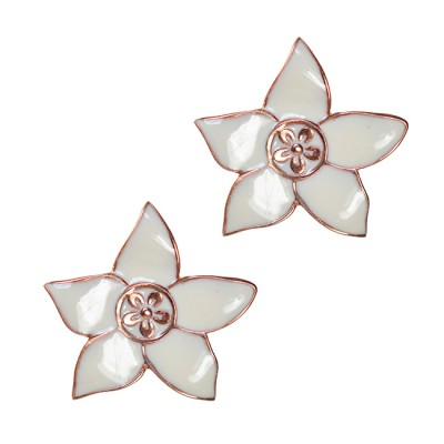 Eloise Enamel Flower Stud Earrings rose Gold