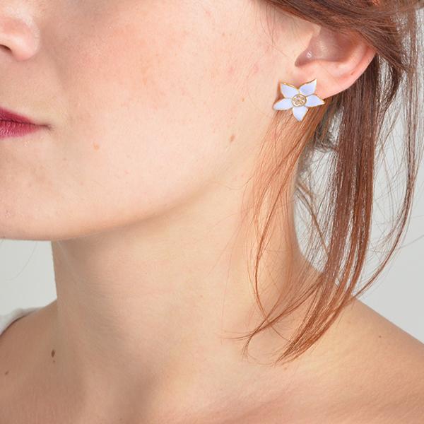 Eloise Enamel Flower Stud Earrings Mauve