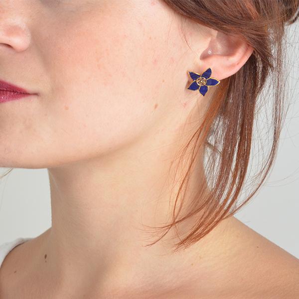 Eloise Enamel Flower Stud Earrings Navy