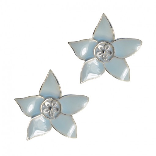 Eloise Enamel Flower Stud Earrings Powder Blue Silver