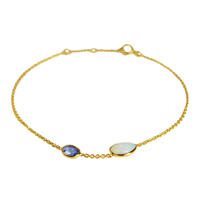 Gold Bracelet Blue Sapphire Opal