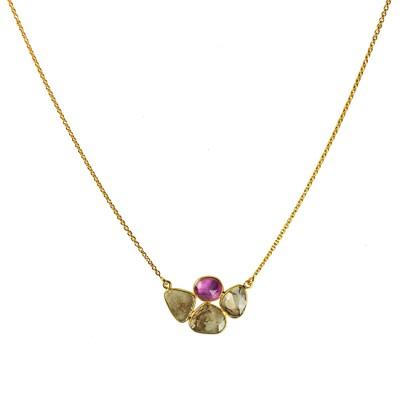 Gold Chocolate Diamond Pink Sapphire