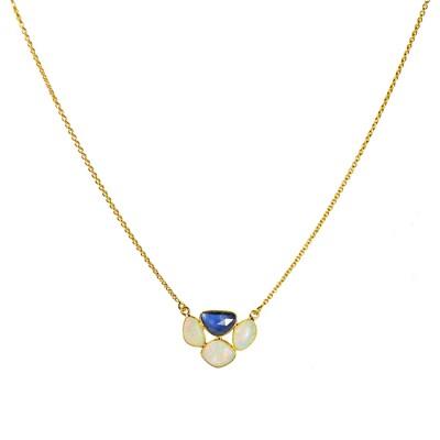 Gold Necklace Blue Sapphire Opal
