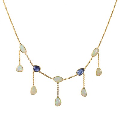 Gold Necklace Blue Sapphire Opal