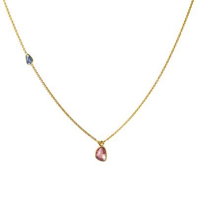 Gold Necklace Multi Sapphire