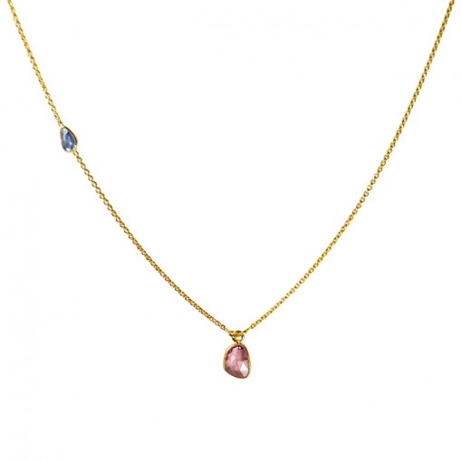 Gold Necklace Multi Sapphire