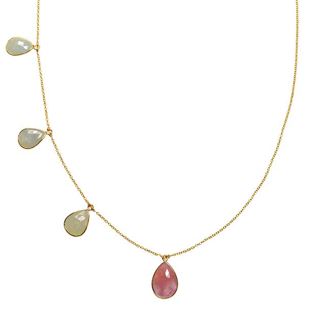 Talitha Necklace Aquamarine Pink Sapphire