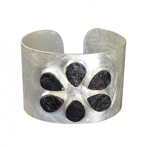 Tallulah Cuff Black Tourmaline Silver