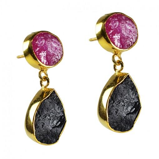 Tallulah Earrings Ruby Black Tourmaline