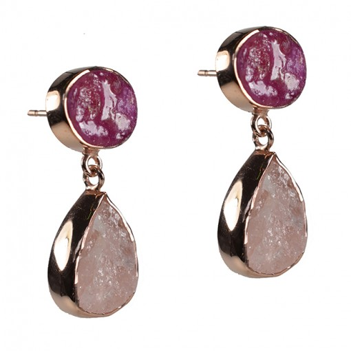 Tallulah Earrings Ruby Morganite Rose Gold