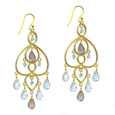 Amelie Chandelier Earrings Blue Topaz Labradorite