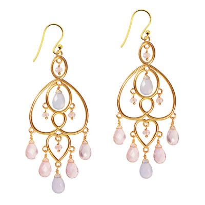 Amelie Chandelier Earrings Chalcedony Rose Quartz