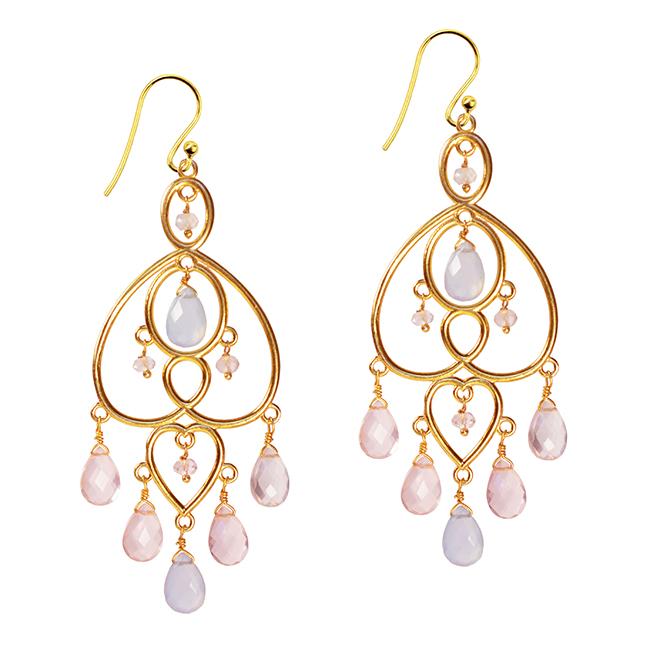 Amelie Chandelier Earrings Chalcedony Rose Quartz