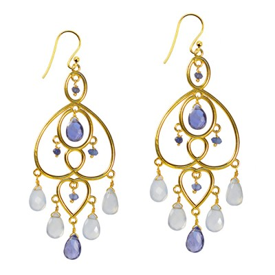 Amelie Chandelier Earrings Iolite Chalcedony