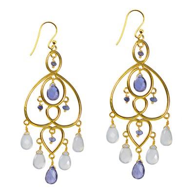Amelie Chandelier Earrings Iolite Chalcedony