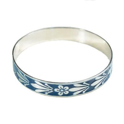 Joy Enamel Bangle Teal Silver