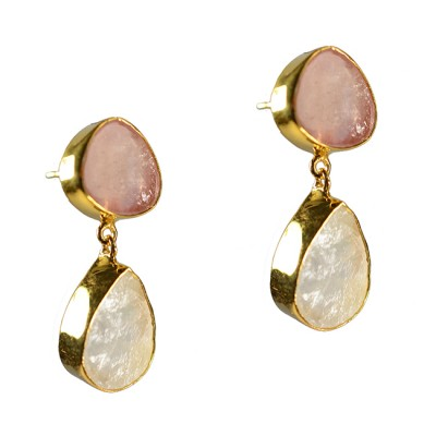 Tallulah Earrings Moonstone Pink Sapphire