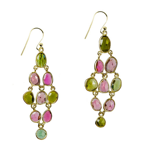 pink green tourmaline chandelier earrings silver