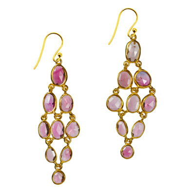tara chandelier earrings pink tourmaline