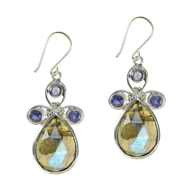 Nikita Drop Earrings Labradorite Iolite Silver
