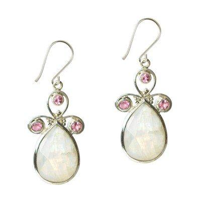 Nikita Drop Earrings Moonstone Pink Tourmaline Silver
