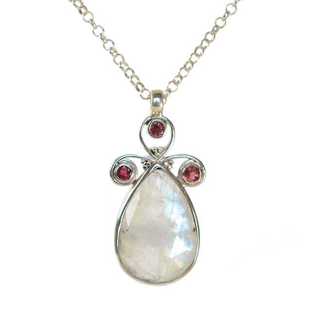 Nikita Necklace Moonstone Pink Tourmaline Silver