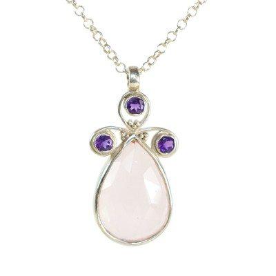 Nikita Necklace Rose Quartz Amethyst Silver