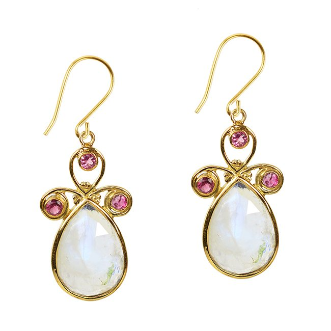 Nikita Earrings Moonstone Pink Tourmaline