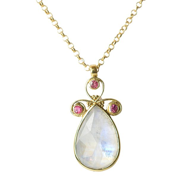 Nikita Necklace Moonstone Pink Tourmaline