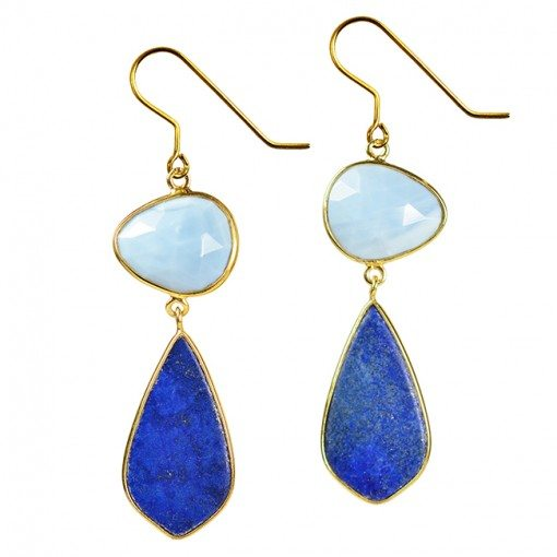 Talitha Kite Earrings Blue Opal Lapis