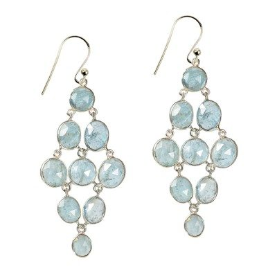 Tara Chandelier Earrings Aquamarine Silver