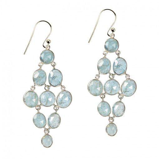 Tara Chandelier Earrings Aquamarine Silver