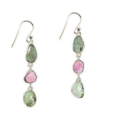 Tara Drop Earrings Pink Green Tourmaline Silver