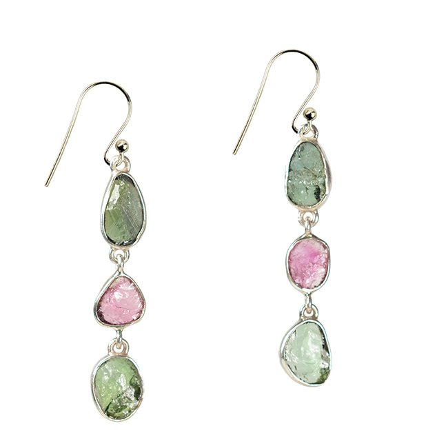 Tara Drop Earrings Pink Green Tourmaline Silver