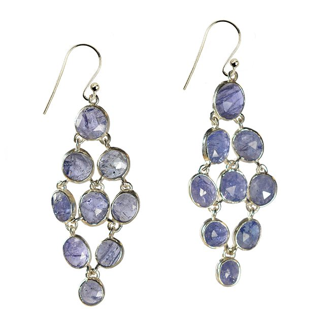 Tara Chandelier Earrings Tanzanite Silver