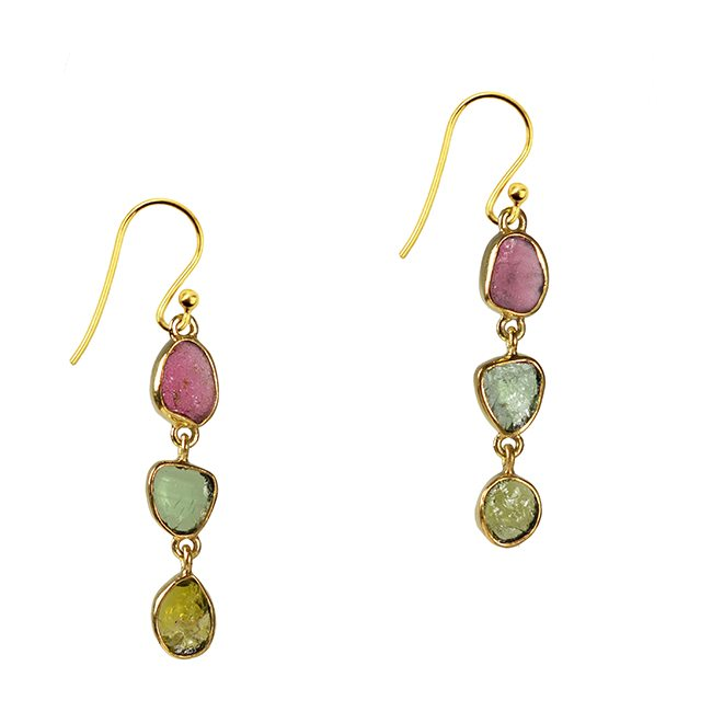 Tara Drop Earrings Pink Green Tourmaline