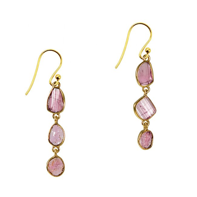 Tara Drop Earrings Pink Tourmaline