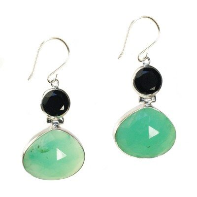Calypso Earrings Chrysoprase Black Spinel Silver