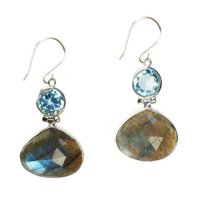 Calypso Earrings Labradorite Blue Topaz