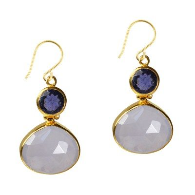 Calypso Earrings Natural Chalcedony Iolite