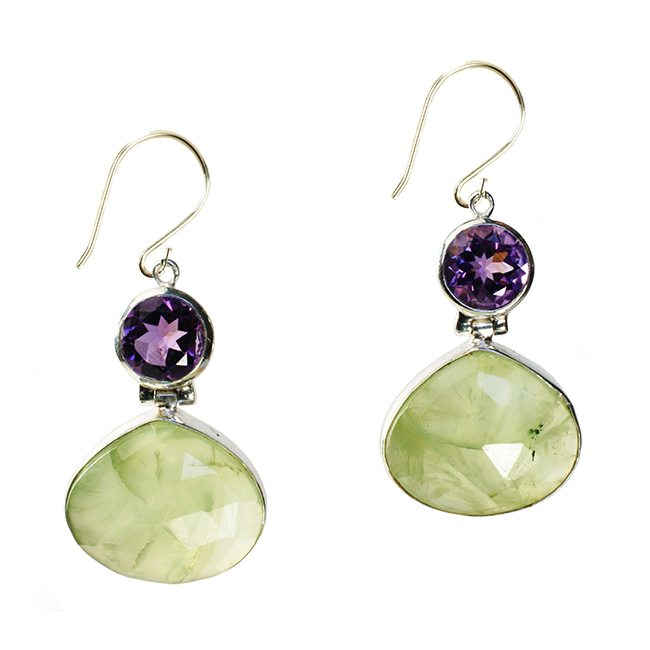 Calypso Earrings Prehnite Amethyst Silver
