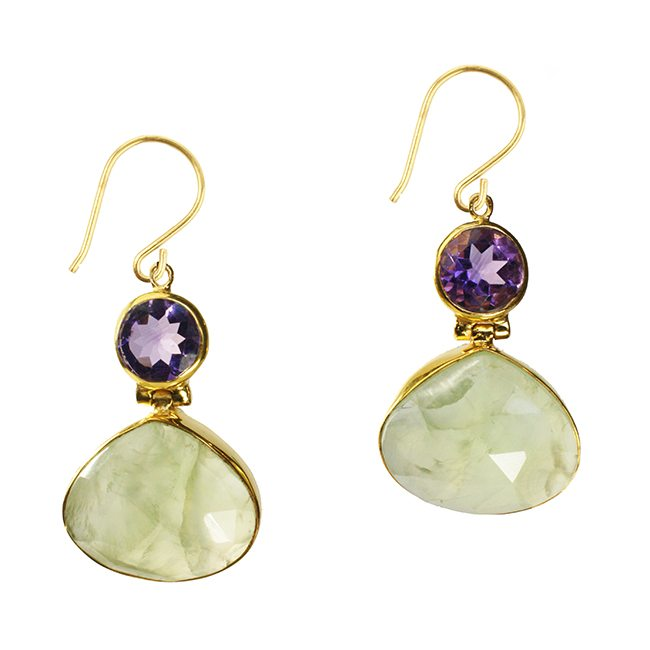 Calypso Earrings Prehnite Amethyst