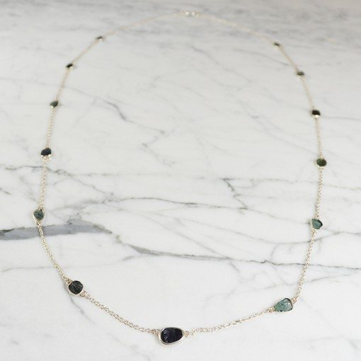 Tara Long Necklace Blue Green Tourmaline Silver