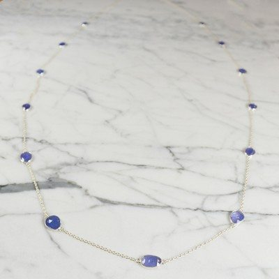 Tara Long Necklace Tanzanite Silver