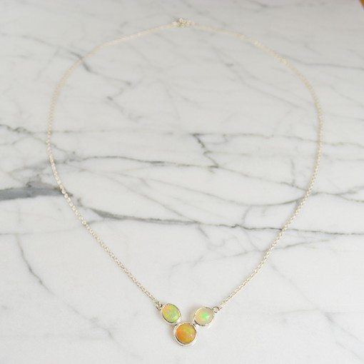 Tara Necklace Opal Silver