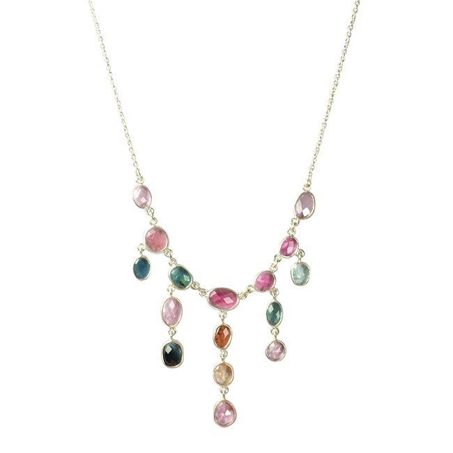 Tara Waterfall Necklace Tourmaline Silver