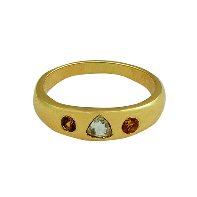 Gold Celebration Ring Diamond Mandarin Garnet