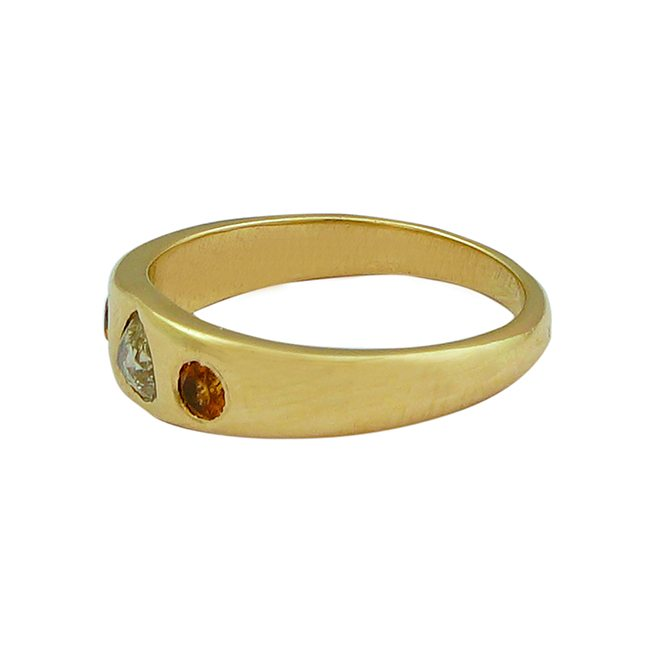 gold celebration ring diamond mandarin garnet