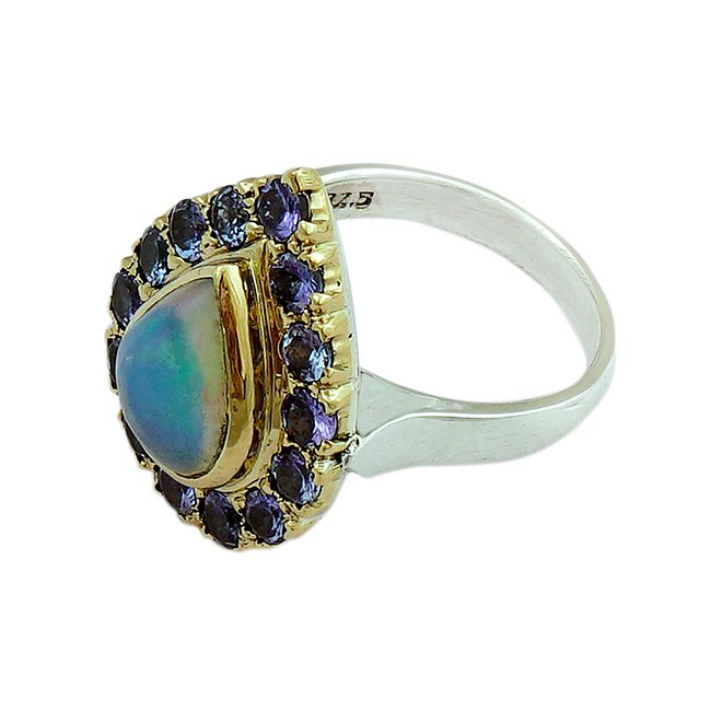 halo cocktail ring opal tanzanite