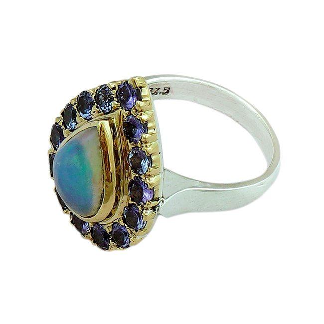 halo cocktail ring opal tanzanite